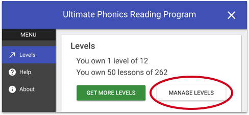 Ultimate Phonics Manage Levels