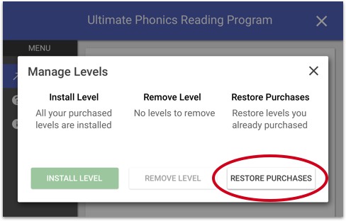 Ultimate Phonics Restore Purchases