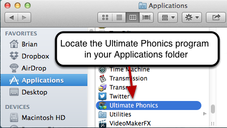 Locate Ultimate Phonics in your Applications folder