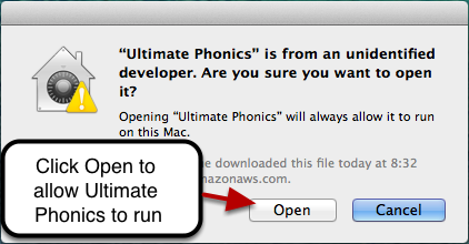 Click the Open button in the message box to run Ultimate Phonics